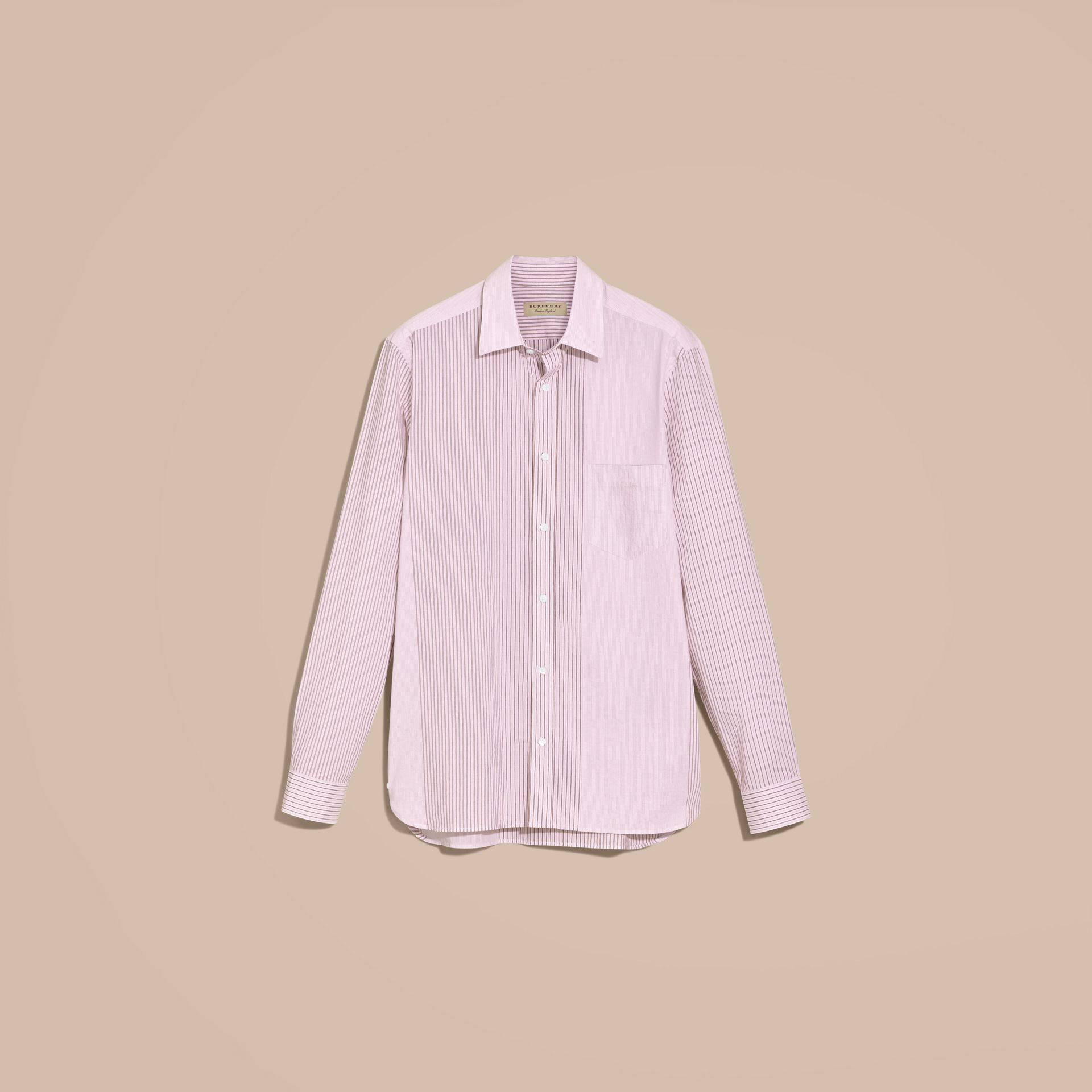 Panelled Stripe Cotton Shirt Rose Pink - gallery image 4