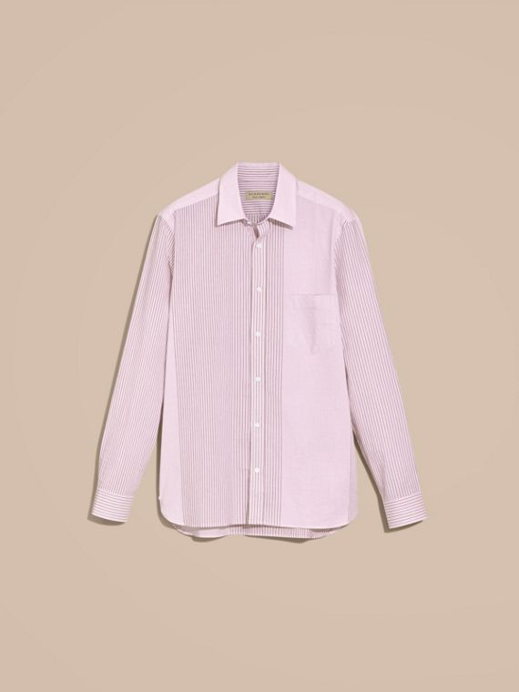 Panelled Stripe Cotton Shirt Rose Pink - cell image 3