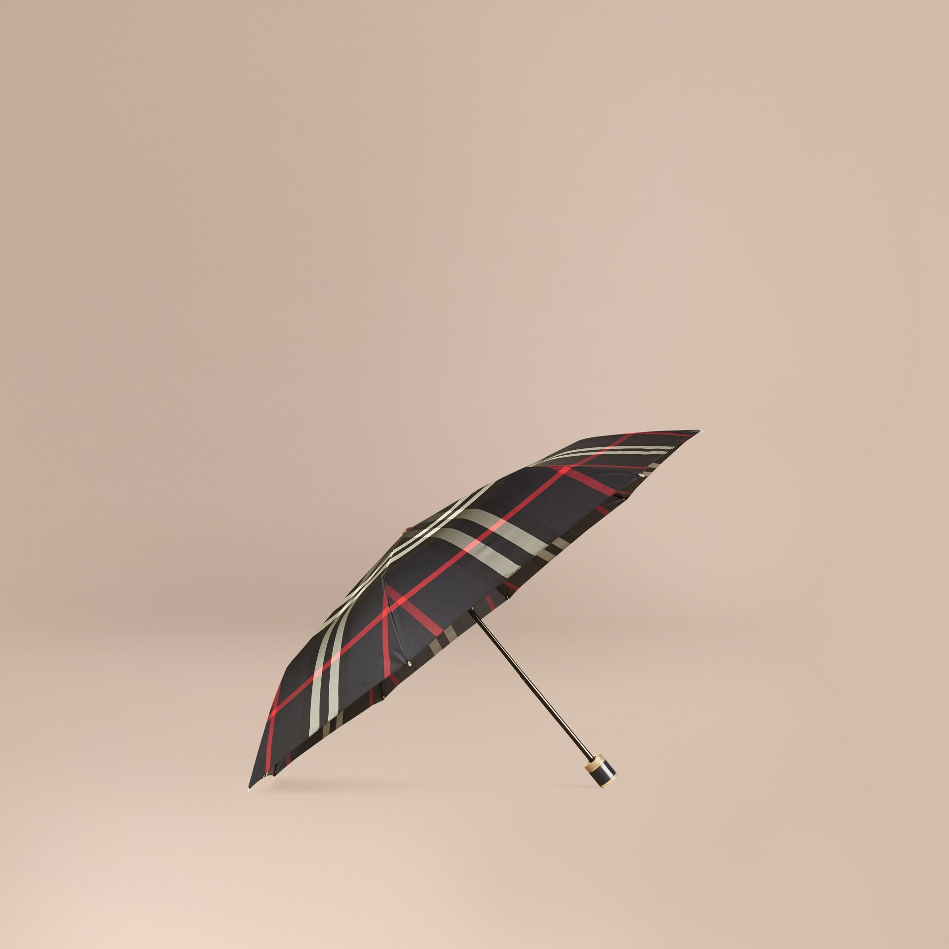 Check Folding Umbrella in Navy | Burberry - gallery image 1