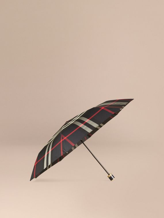 Check Folding Umbrella in Navy | Burberry