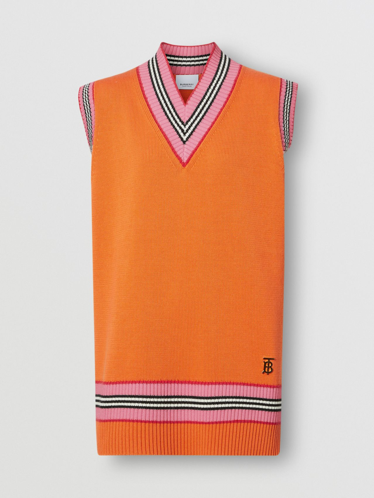 Cotton Oversized Cricket Vest in Deep Orange