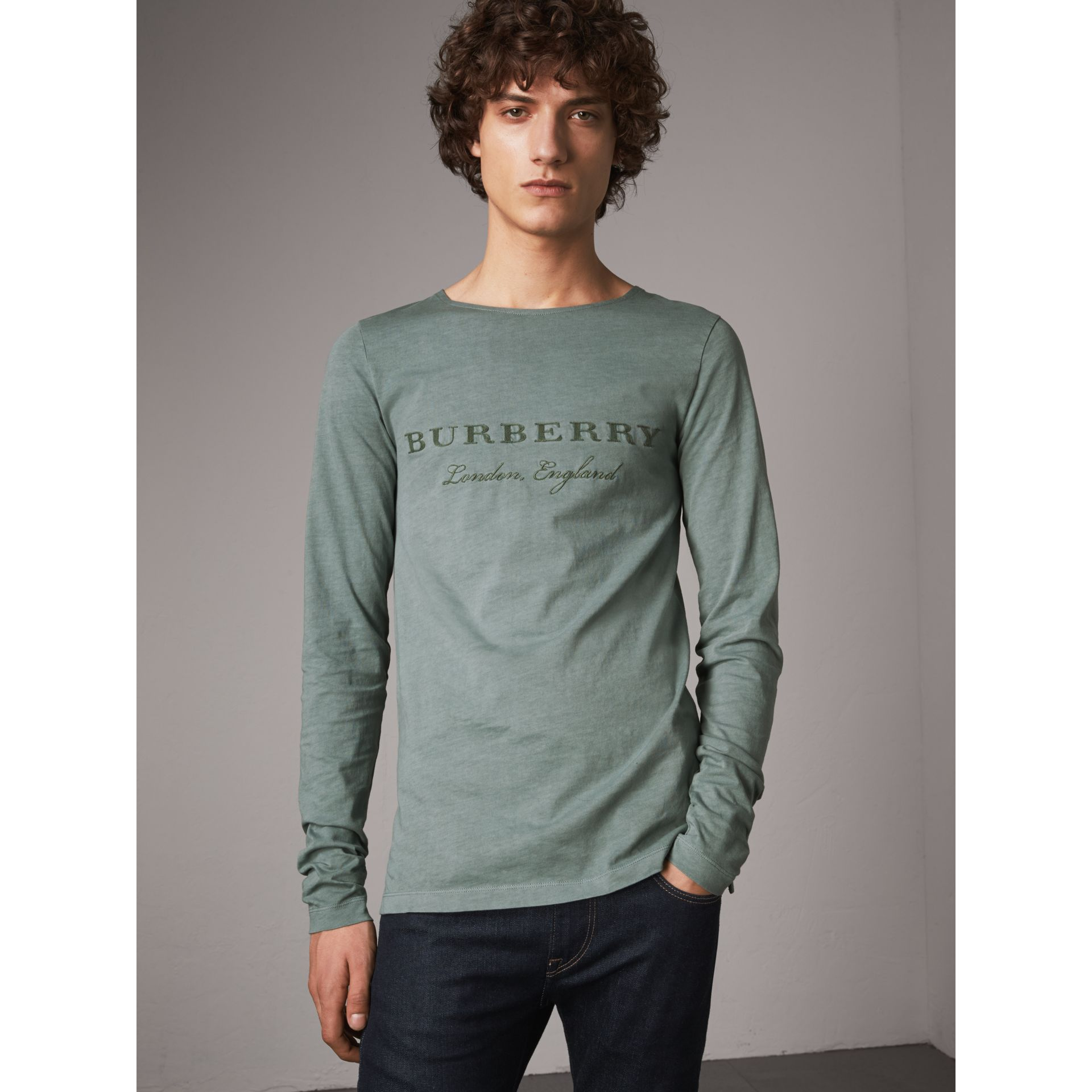 Long-sleeve Embroidered Cotton Top in Cyan Green - Men | Burberry United States - gallery image 0