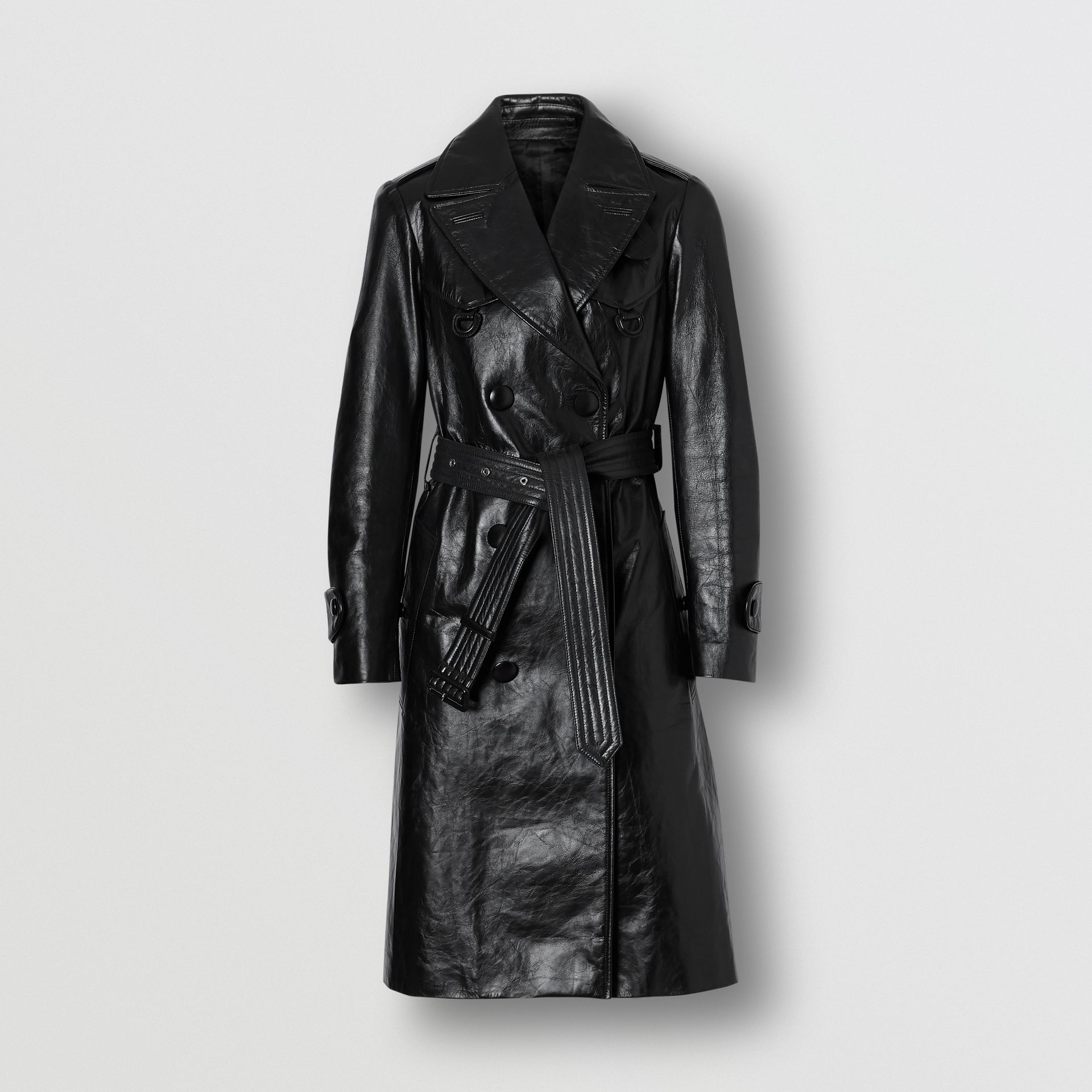 D-ring Detail Crinkled Leather Trench Coat in Black - Women | Burberry Australia - gallery image 3