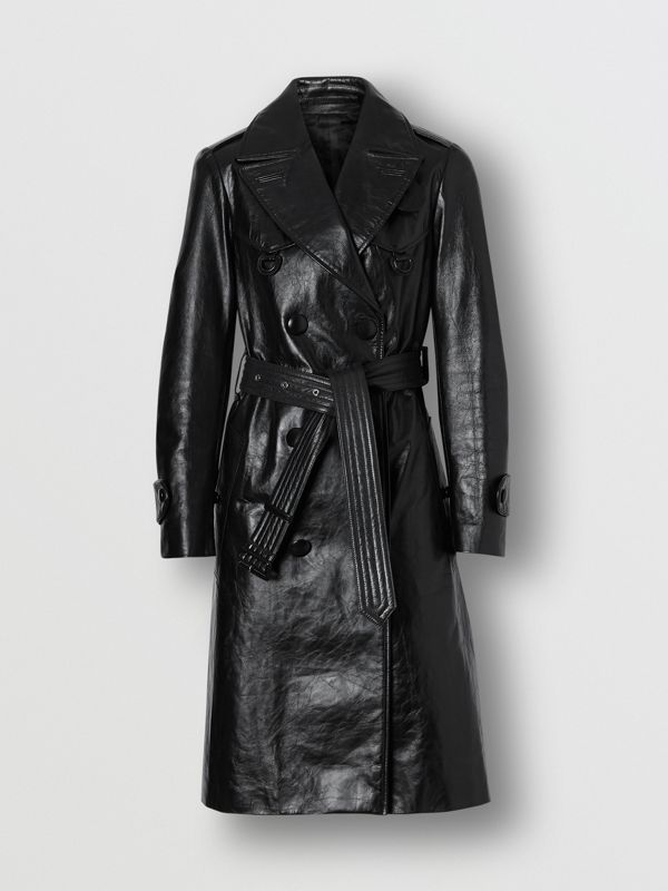 D-ring Detail Crinkled Leather Trench Coat in Black - Women | Burberry Australia - cell image 3