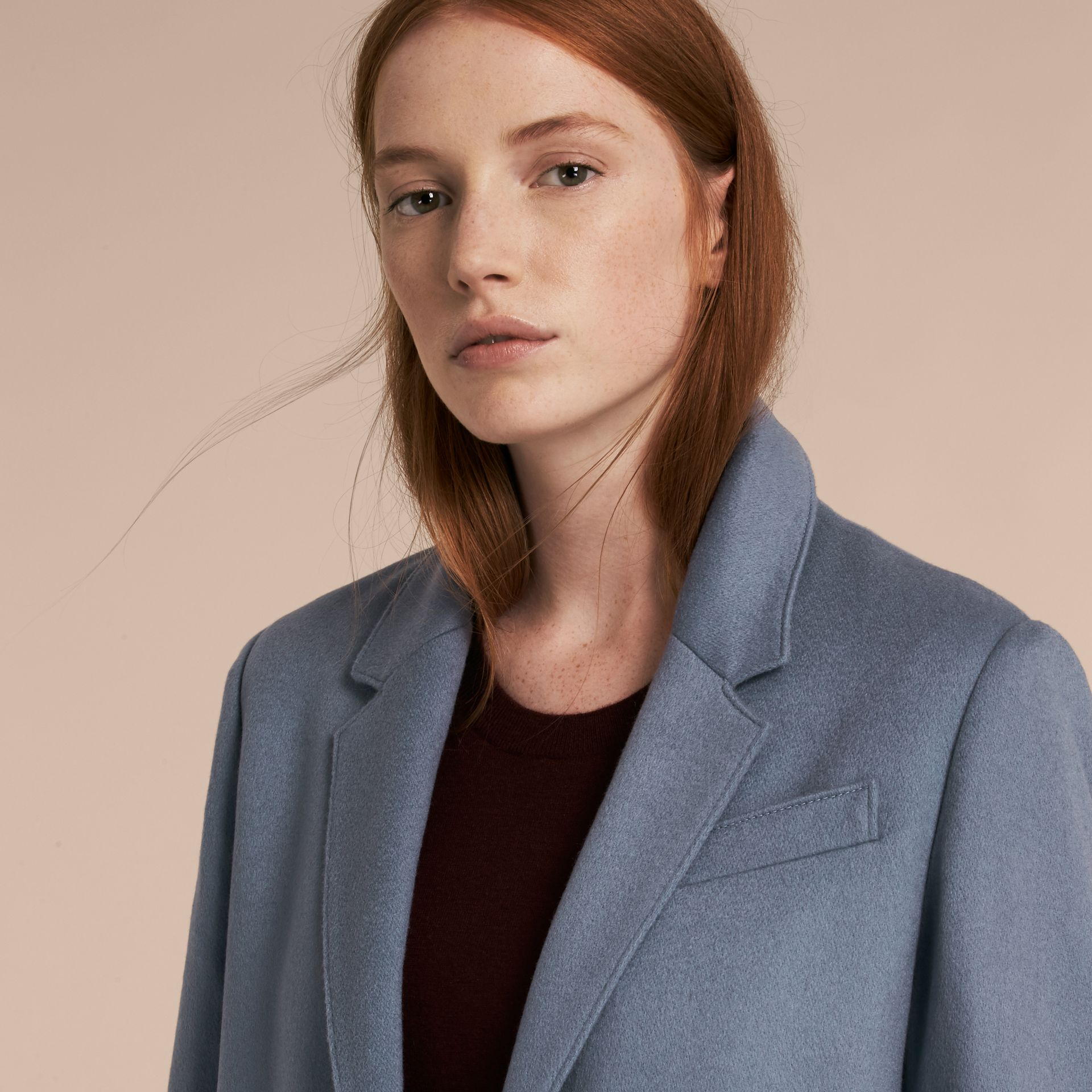 Pale blue Cashmere Tailored Coat - gallery image 4