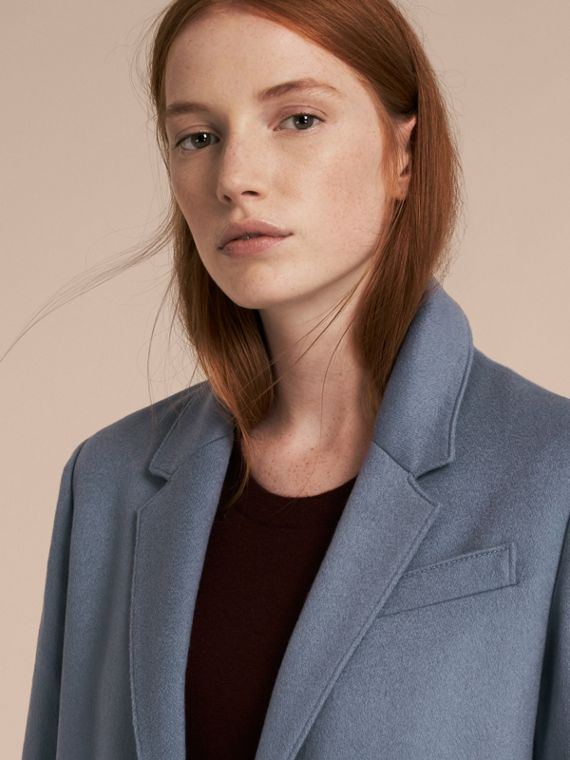 Pale blue Cashmere Tailored Coat - cell image 3
