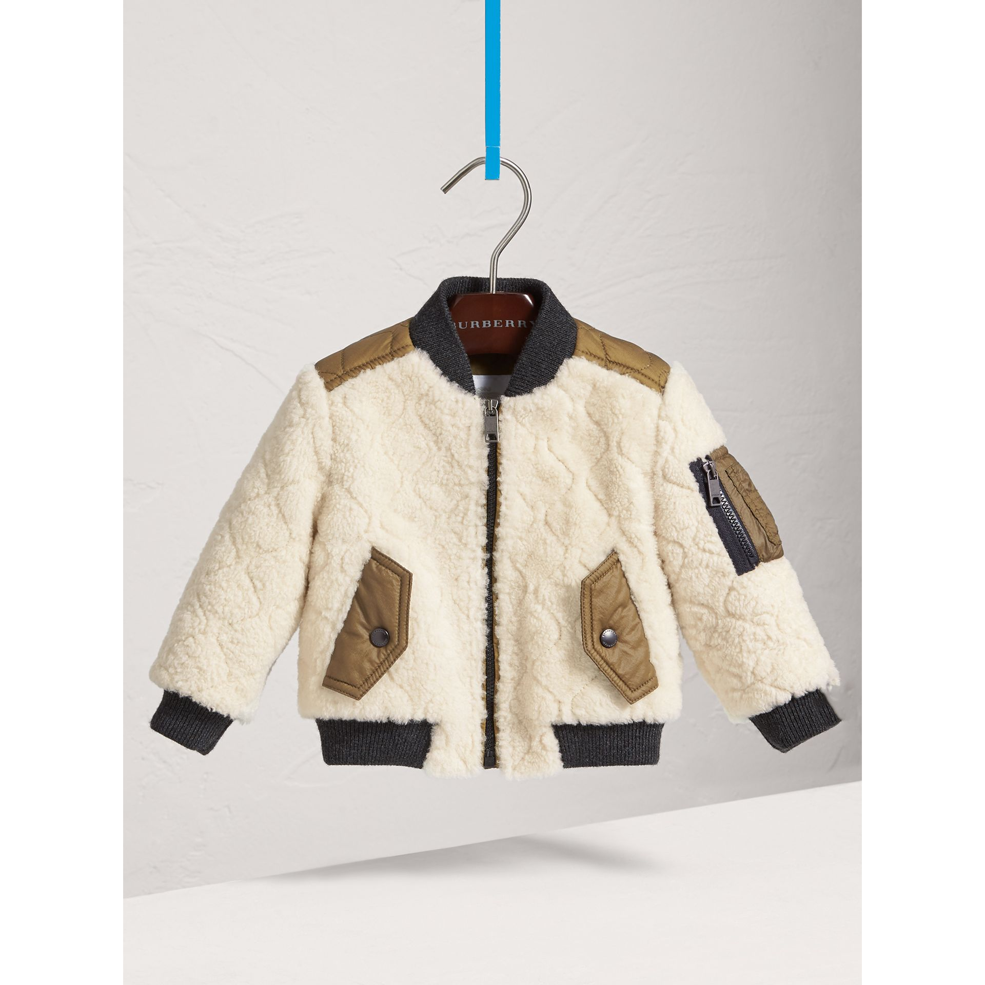 Quilted Lamb Shearling Bomber Jacket in Natural White | Burberry - gallery image 2