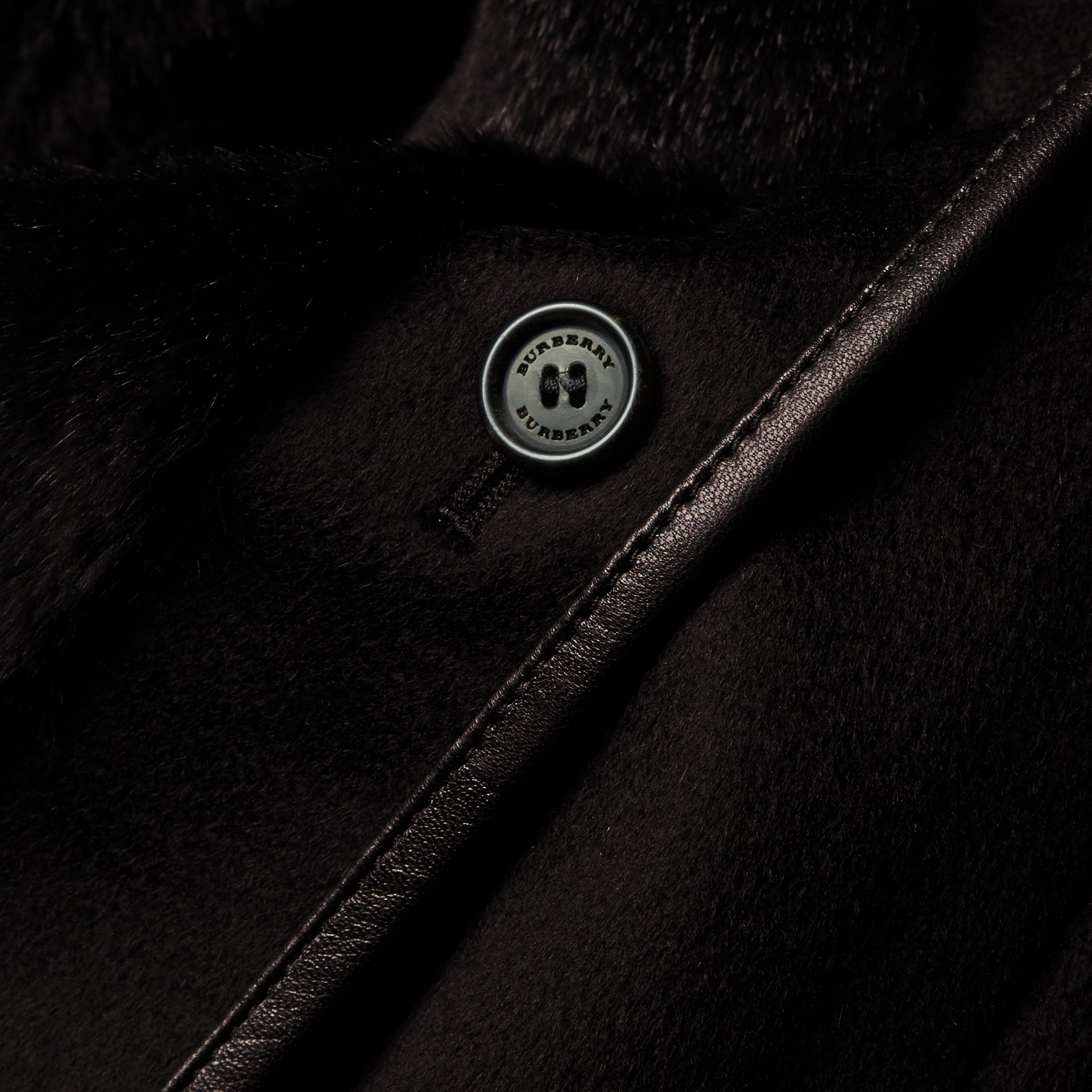Black Fox and Shearling Trim Cashmere Parka with Fur Liner - gallery image 2