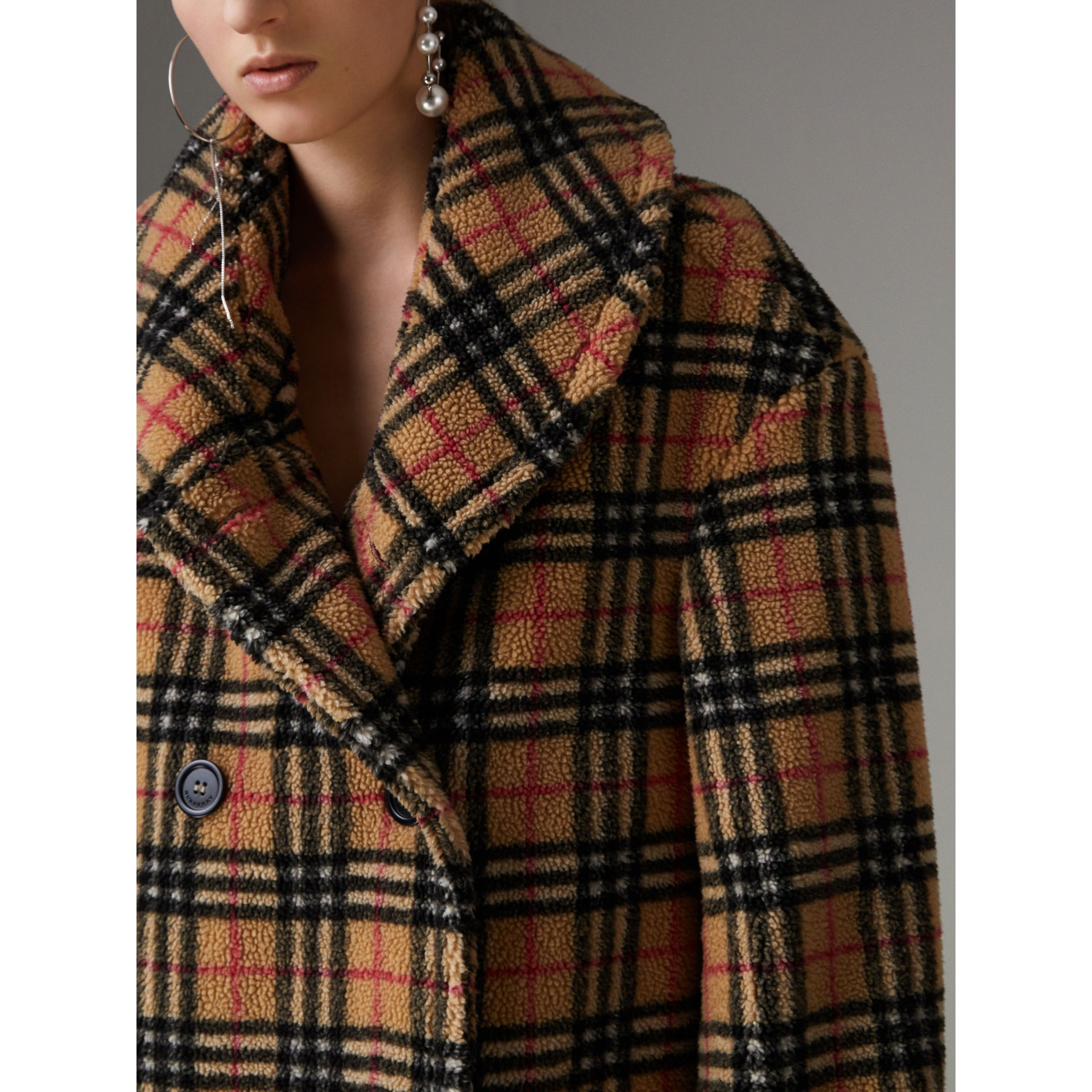 Vintage Check Faux Shearling Coat in Antique Yellow - Women | Burberry - gallery image 1