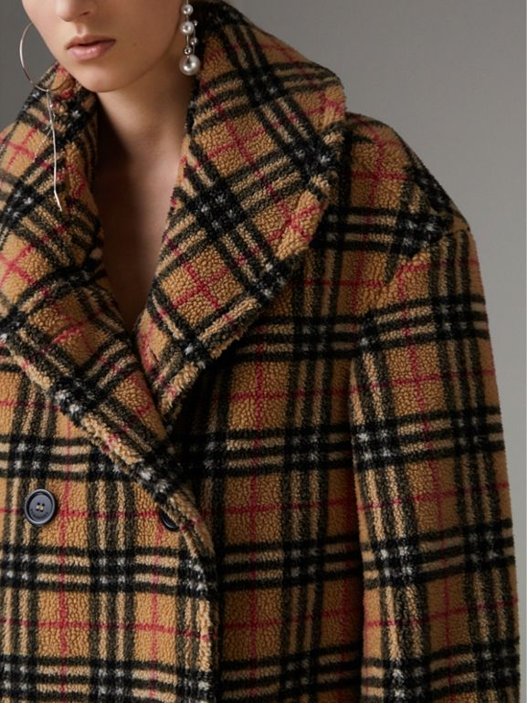 Vintage Check Faux Shearling Coat in Antique Yellow - Women | Burberry - cell image 1