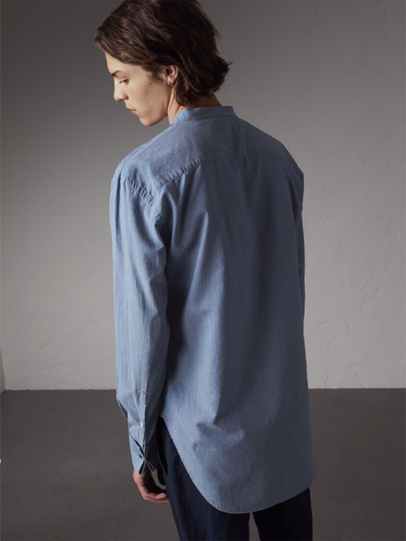 Grandad Collar Pleated Bib Cotton Shirt in Denim Blue - Men | Burberry Australia - cell image 2