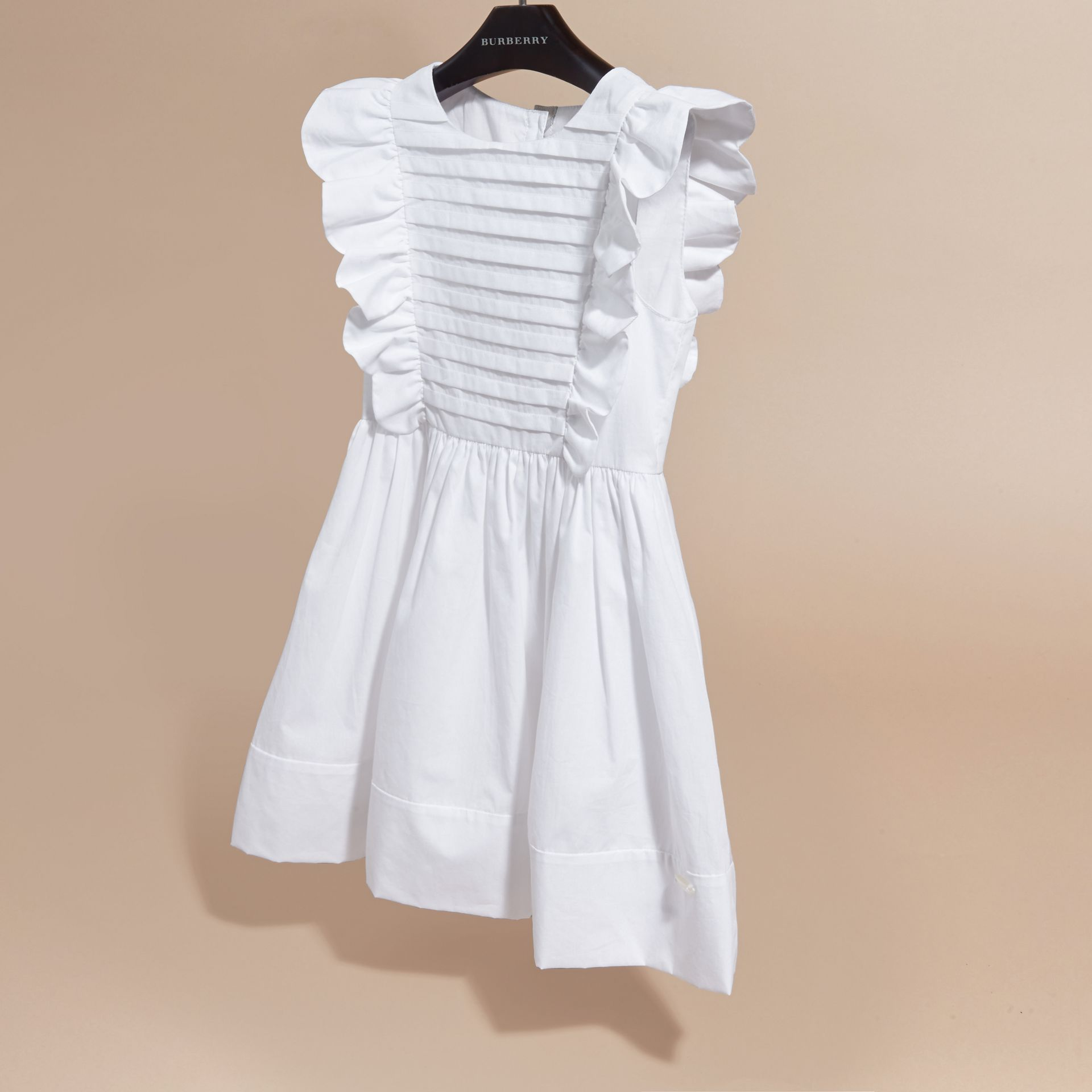 Ruffle and Pleat Detail Cotton Dress in White | Burberry Hong Kong - gallery image 3