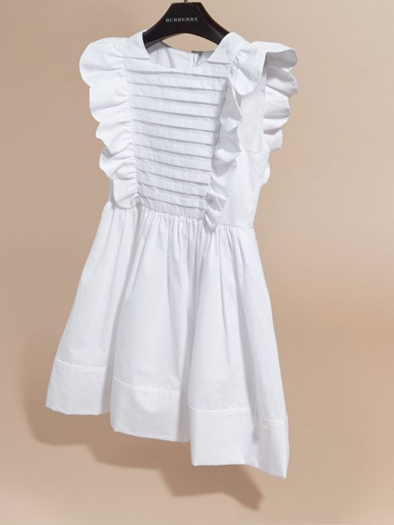 Ruffle and Pleat Detail Cotton Dress in White | Burberry Hong Kong - cell image 2