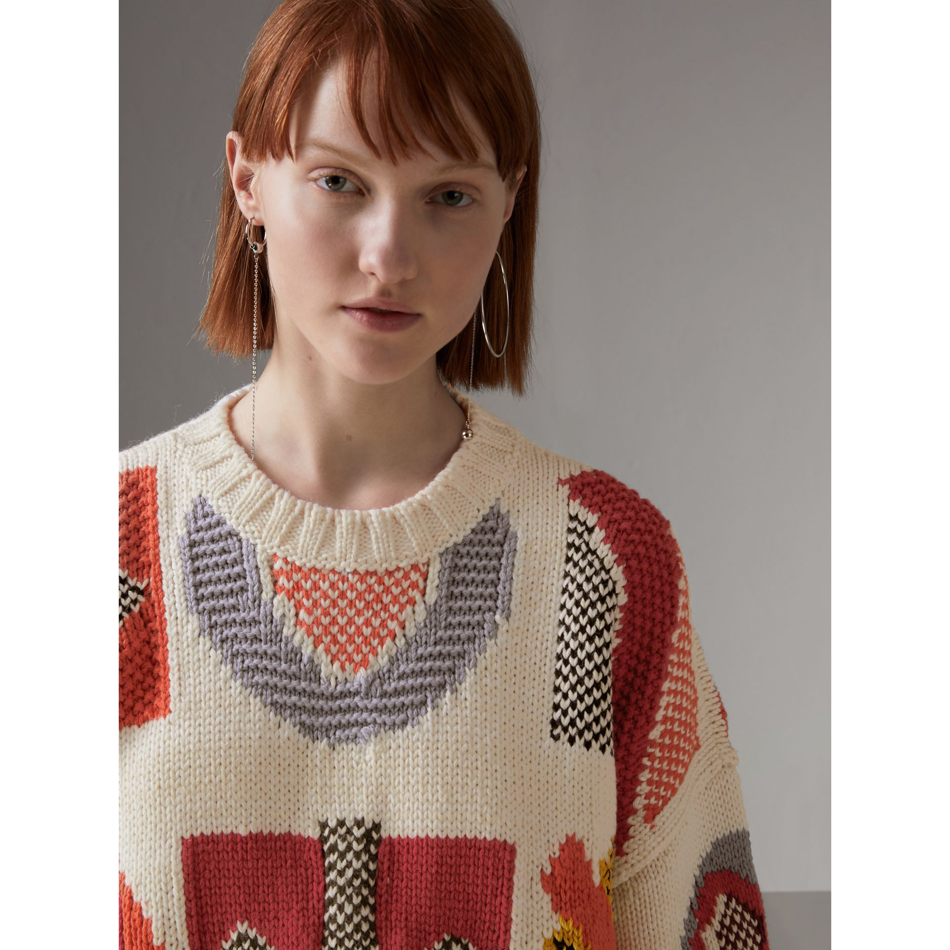 Motif Intarsia Wool Cashmere Blend Sweater in Natural White - Women | Burberry - gallery image 1