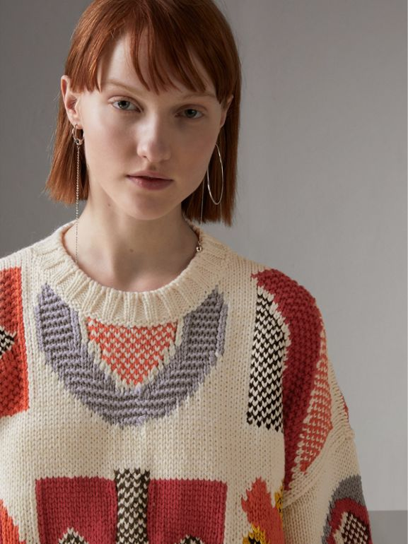 Motif Intarsia Wool Cashmere Blend Sweater in Natural White - Women | Burberry - cell image 1