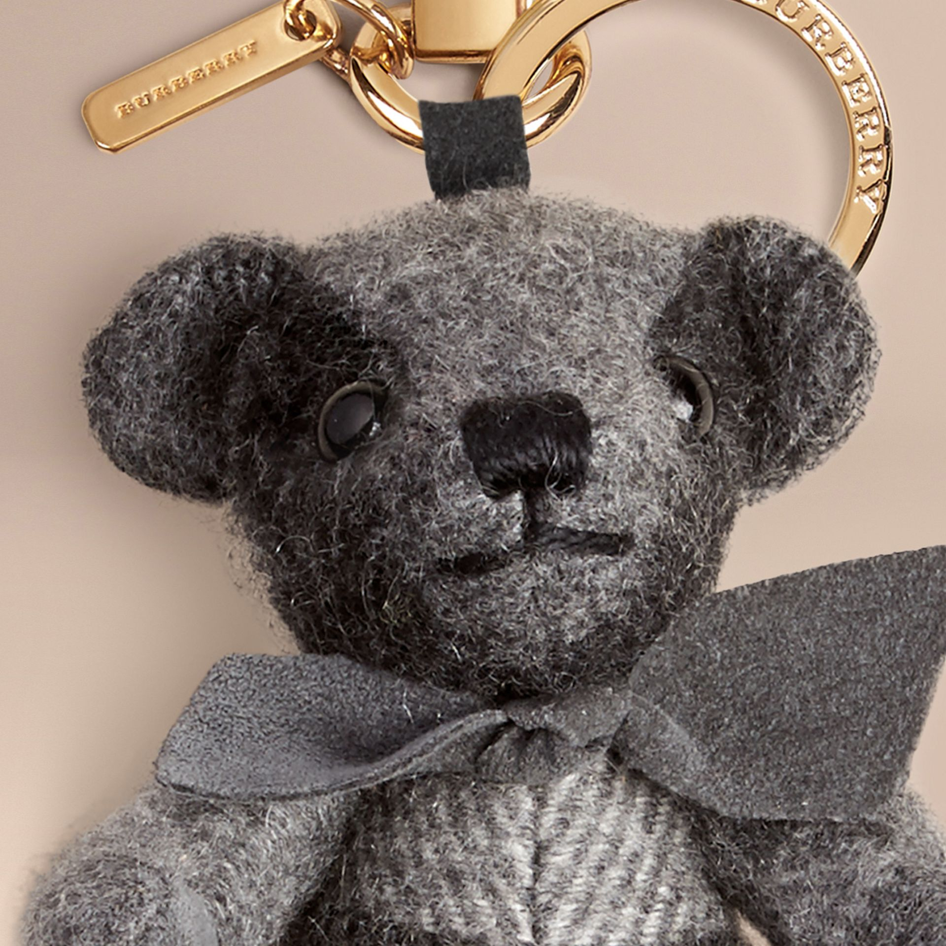 Thomas Bear Charm in Check Cashmere in Mid Grey | Burberry Hong Kong - gallery image 2