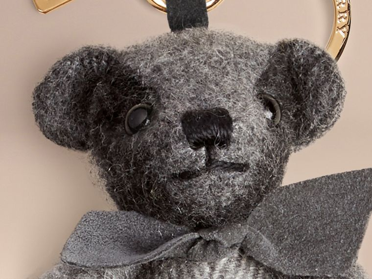 Mid grey Thomas Bear Charm in Check Cashmere Mid Grey - cell image 1