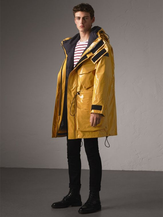 Seam-sealed Weatherproof Coat with Down-filled Warmer in Amber Yellow