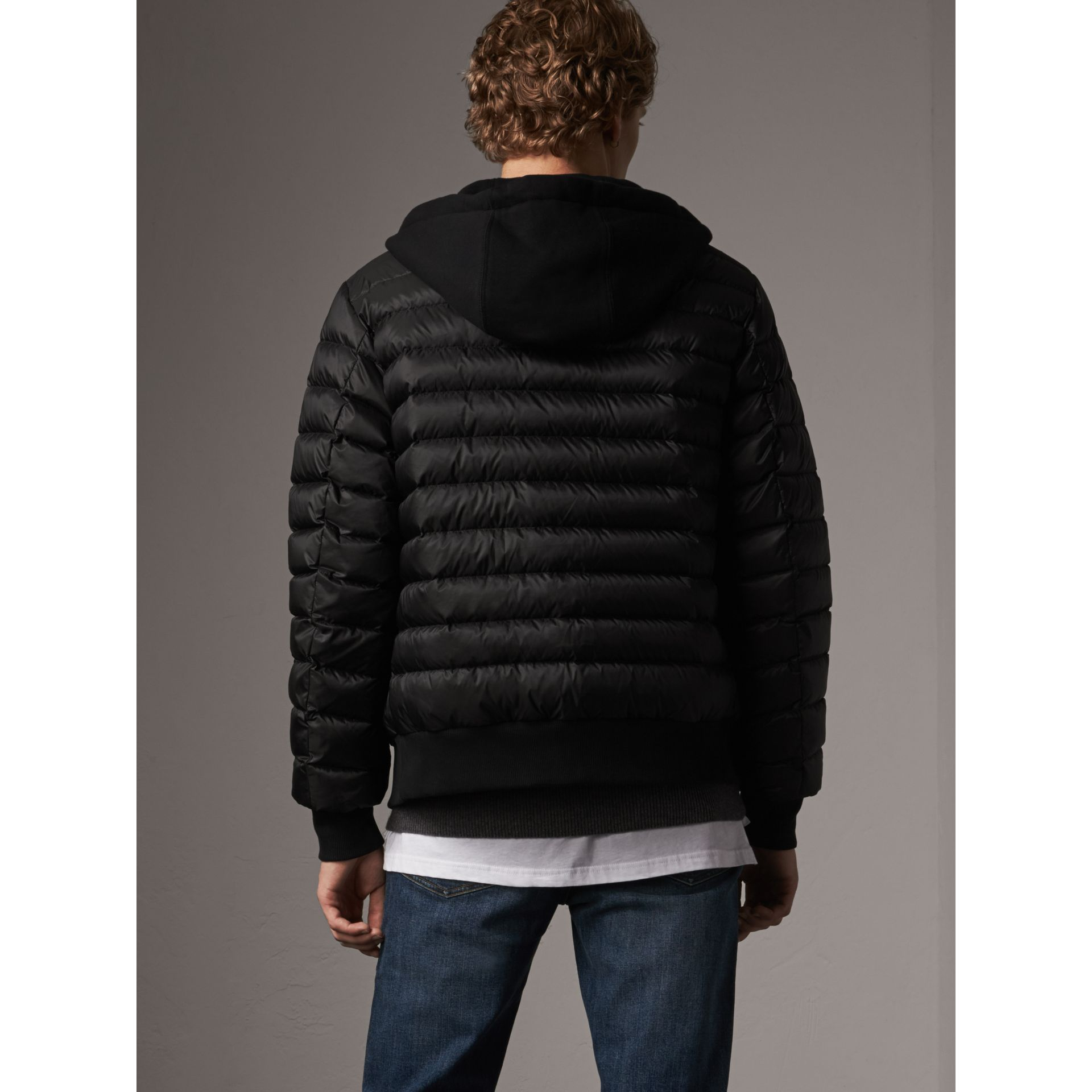 Reversible Down-filled Hooded Bomber Jacket in Black - Men | Burberry - gallery image 2