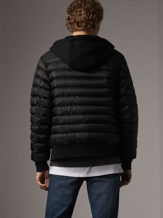 Reversible Down-filled Hooded Bomber Jacket in Black - Men | Burberry Australia - cell image 2