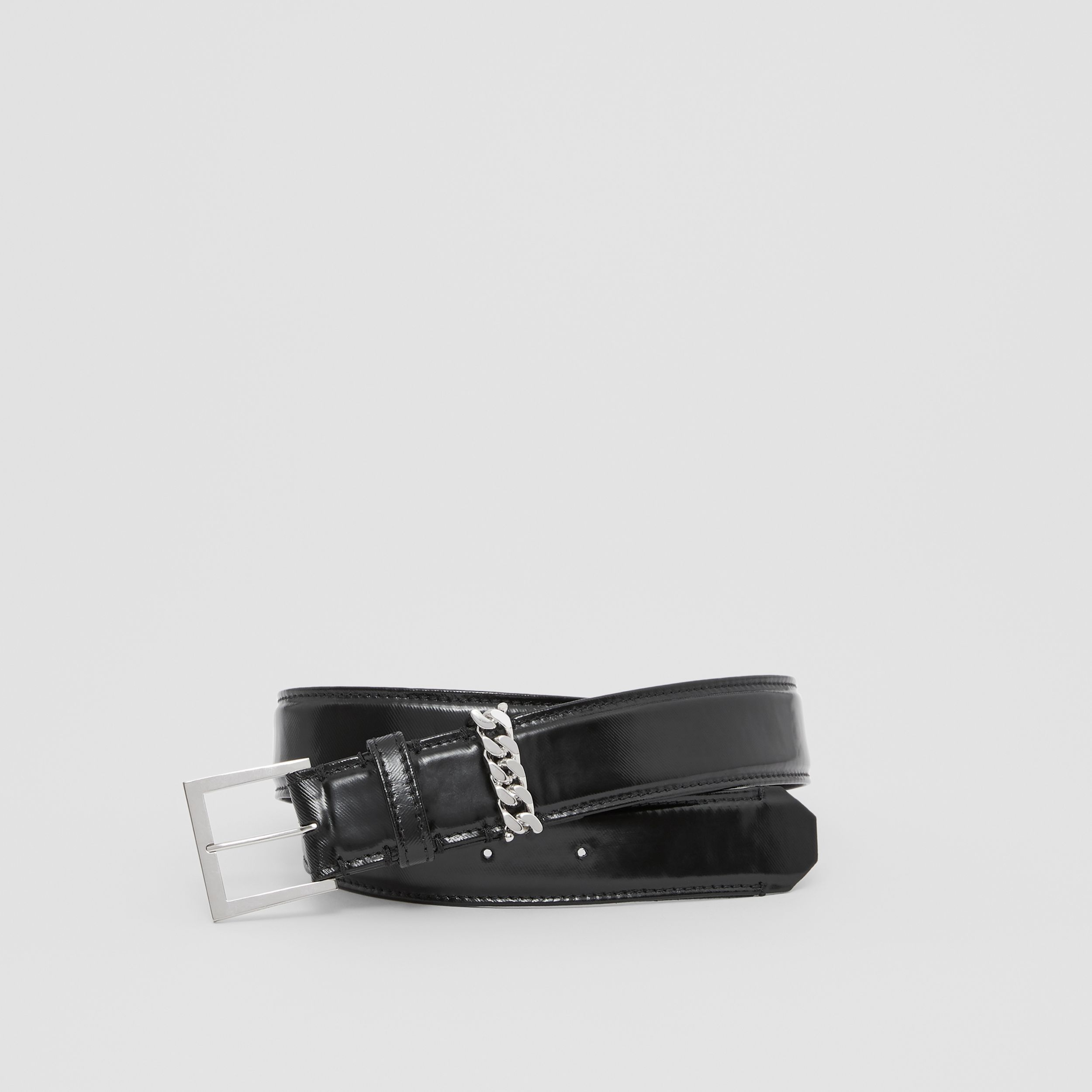 Chain Detail Horseferry Print Coated Canvas Belt in Black/palladium | Burberry - 1