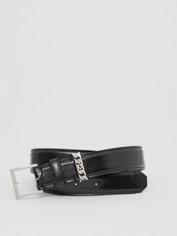 Chain Detail Horseferry Print Coated Canvas Belt in Black/palladium