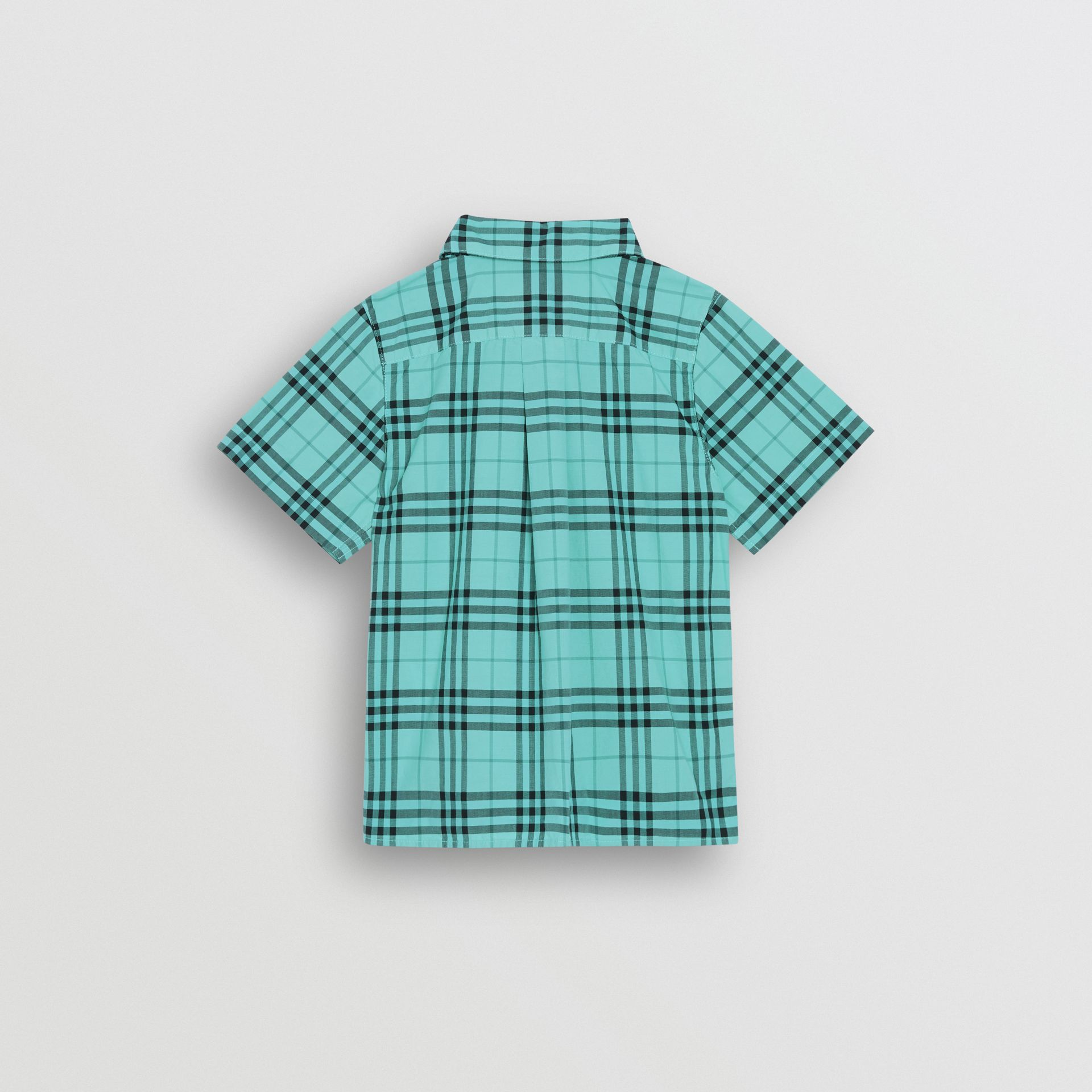 Short-sleeve Check Cotton Shirt in Light Mint | Burberry - gallery image 3