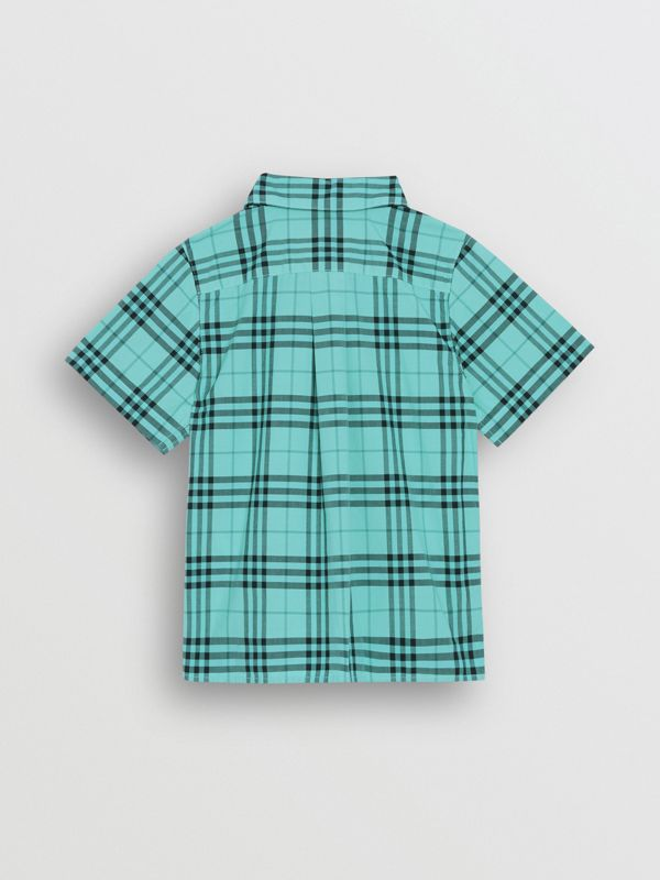 Short-sleeve Check Cotton Shirt in Light Mint - Children | Burberry - cell image 3