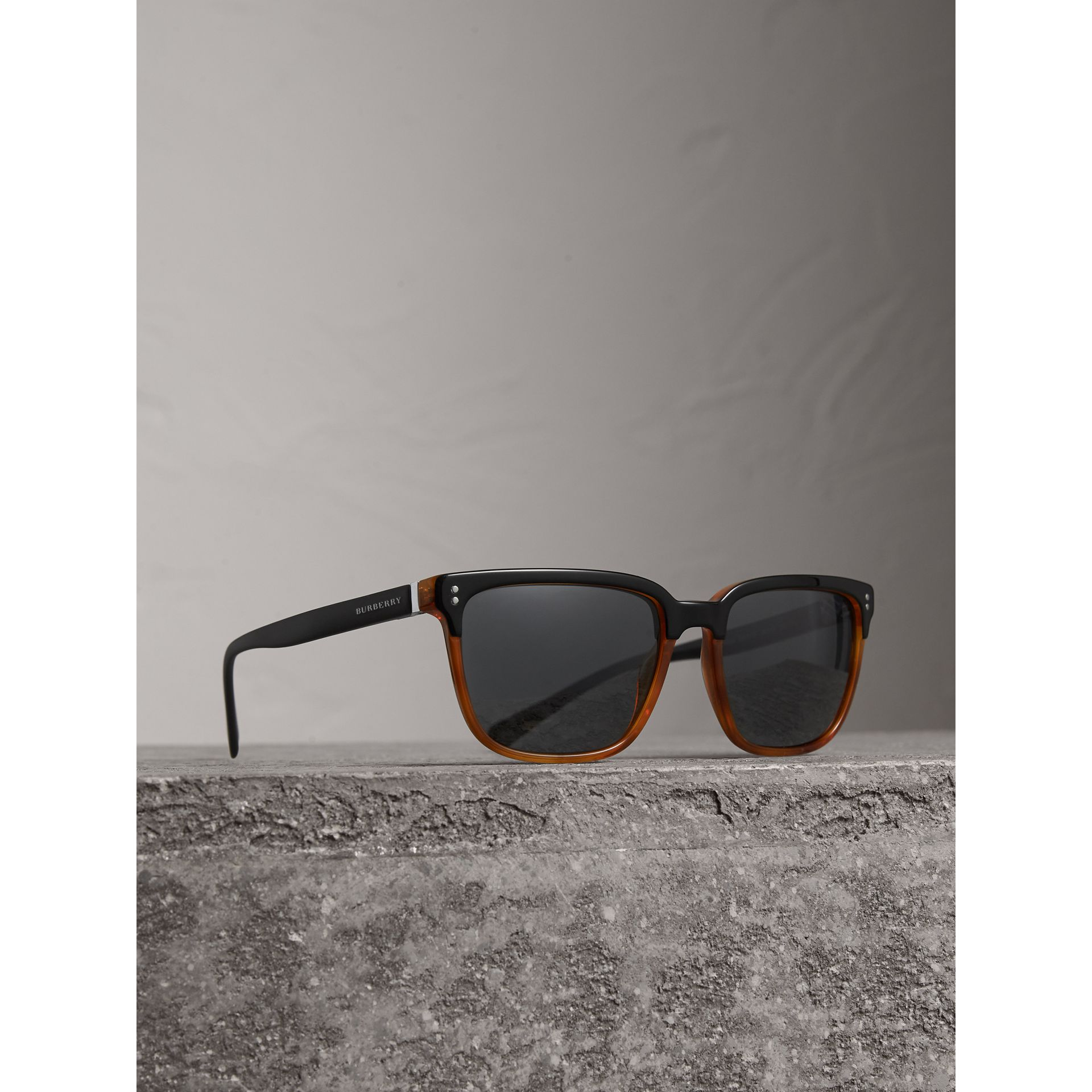 Square Frame Sunglasses in Light Brown - Men | Burberry - gallery image 0