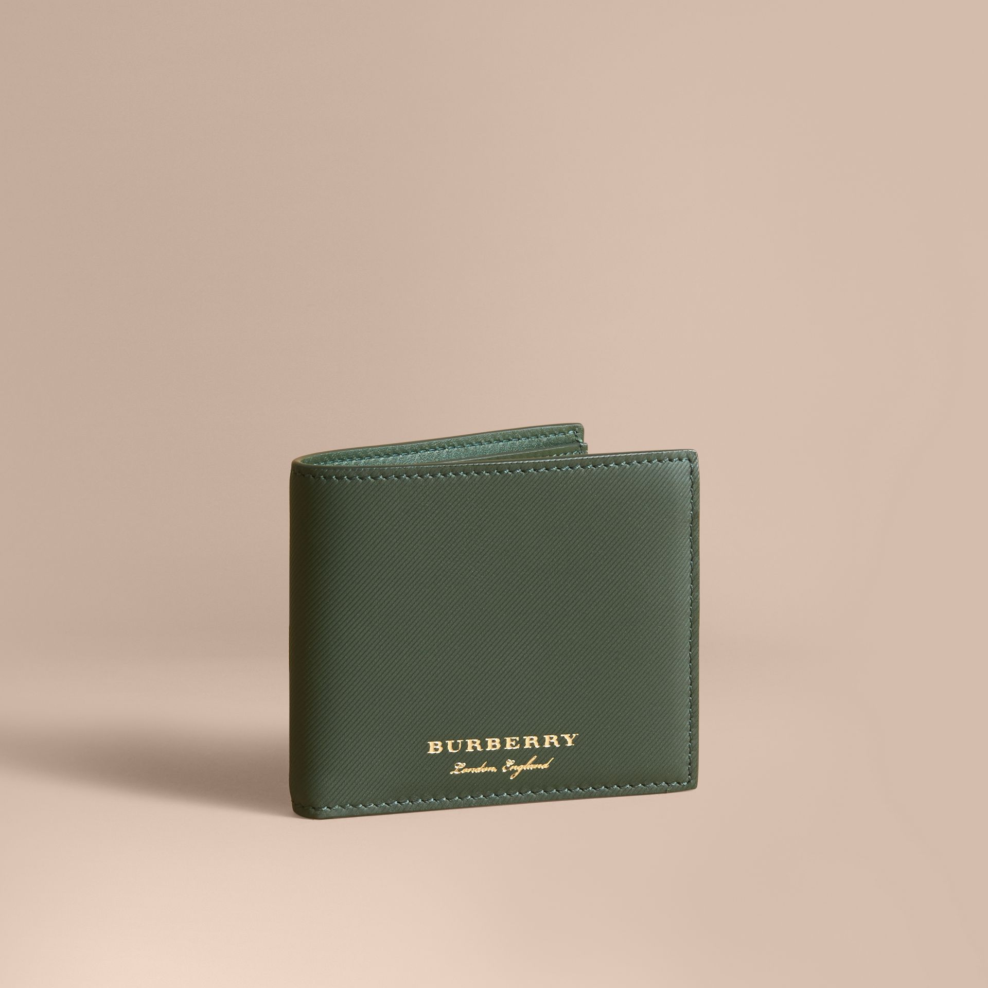Trench Leather International Bifold Wallet in Dark Forest Green - Men | Burberry Hong Kong - gallery image 1