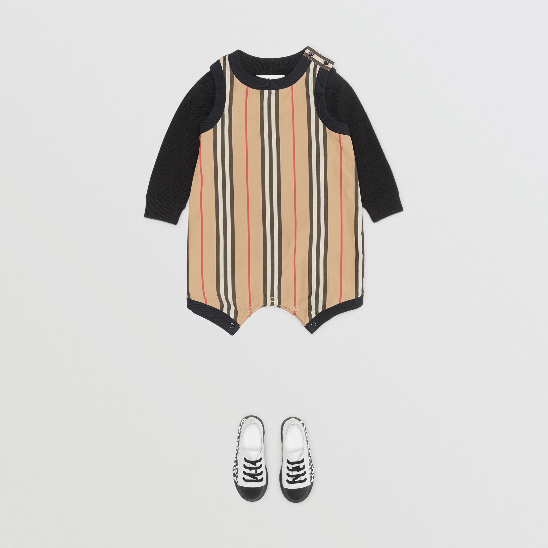 Icon Stripe Cotton Bodysuit in Archive Beige - Children | Burberry United Kingdom - gallery image 3