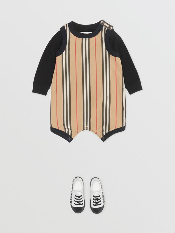 Icon Stripe Cotton Bodysuit in Archive Beige - Children | Burberry - cell image 3