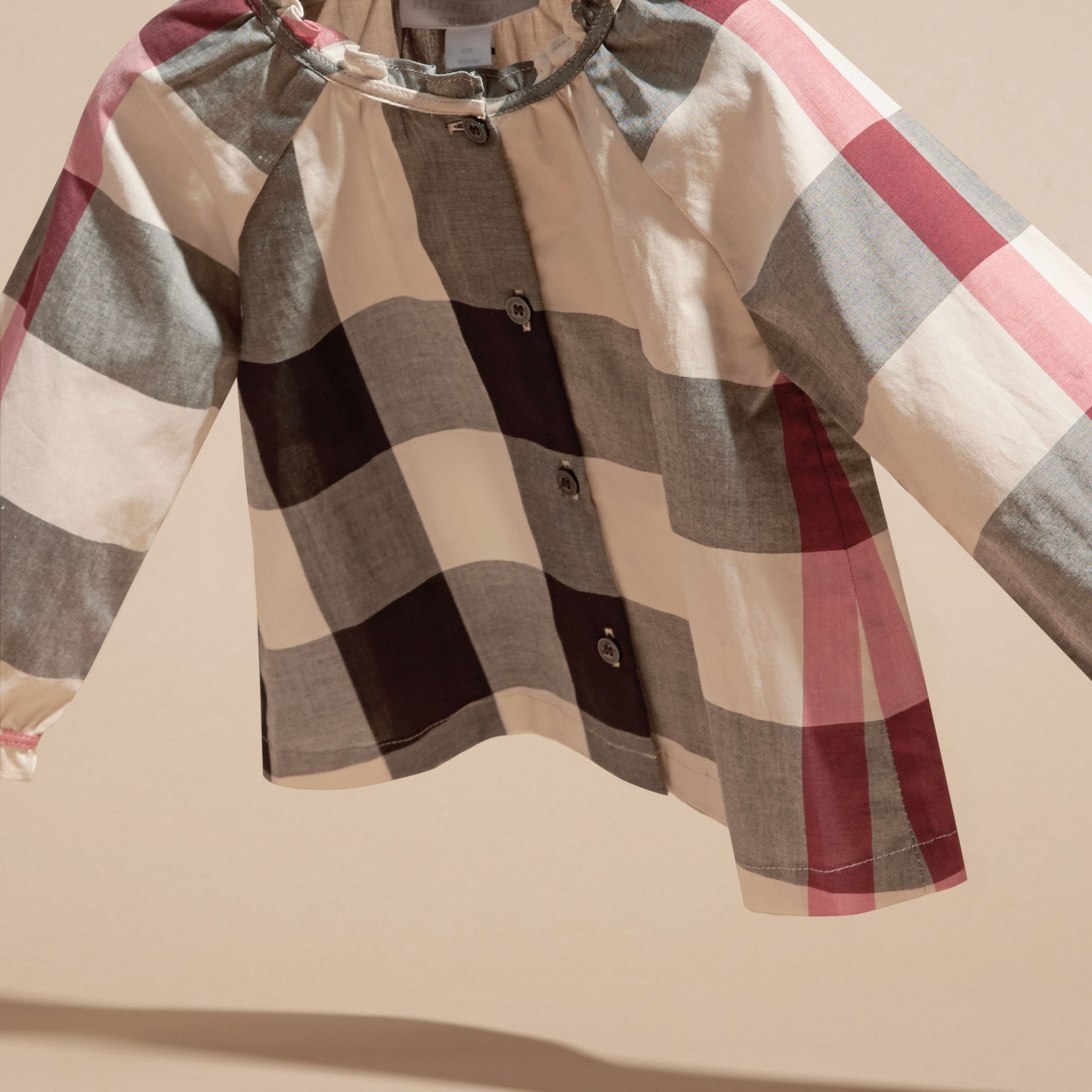 New classic check Check Cotton Shirt with Ruffle Detail - gallery image 3