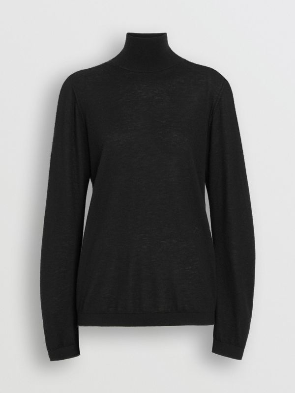 Cashmere Turtleneck Sweater in Black - Women | Burberry Australia - cell image 3
