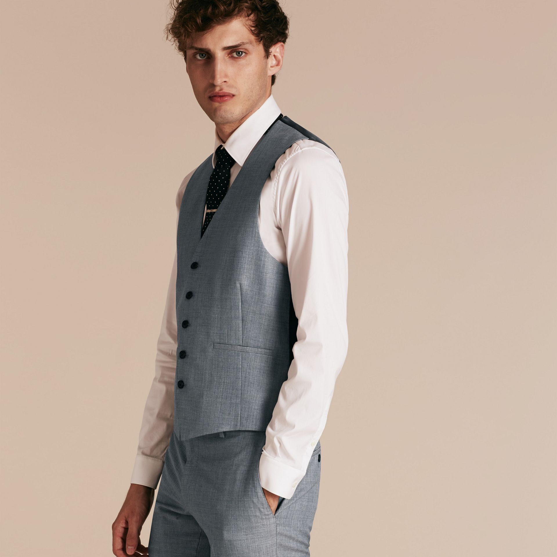 Light grey melange Modern Fit Wool and Satin Panel Waistcoat - gallery image 6