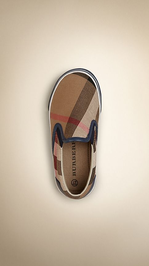 Navy House Check Cotton Slip-On Trainers - Image 3