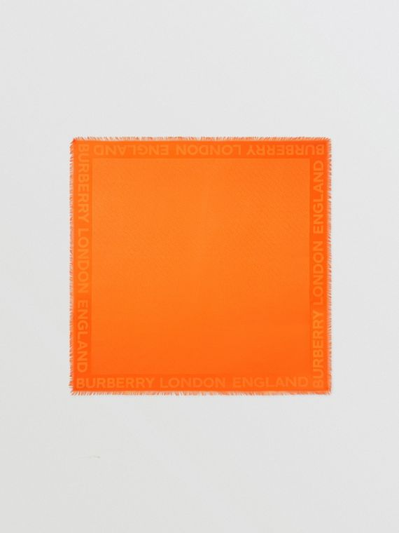 Grand carré de soie et laine en jacquard Monogram (Orange)