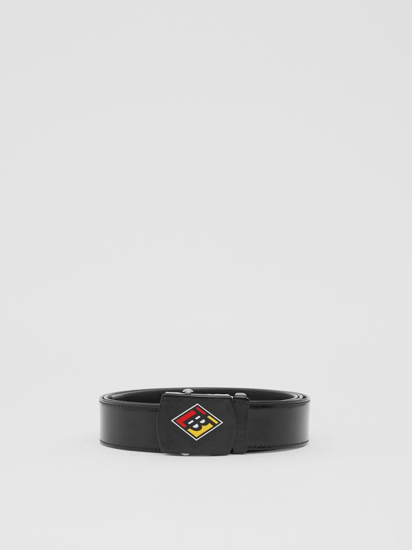 Logo Graphic Plaque Buckle Canvas Belt in Black - Men | Burberry - cell image 3