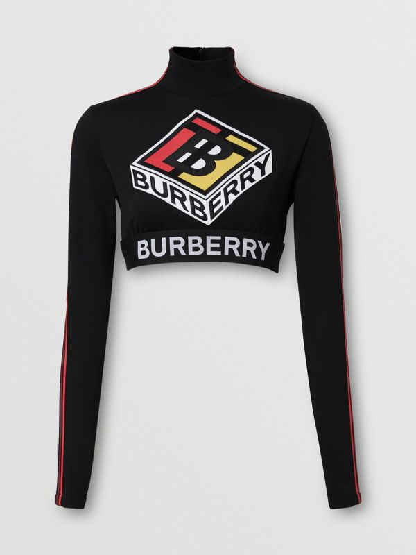 Logo Graphic Stretch Jersey Cropped Top in Black - Women | Burberry Hong Kong S.A.R - cell image 3