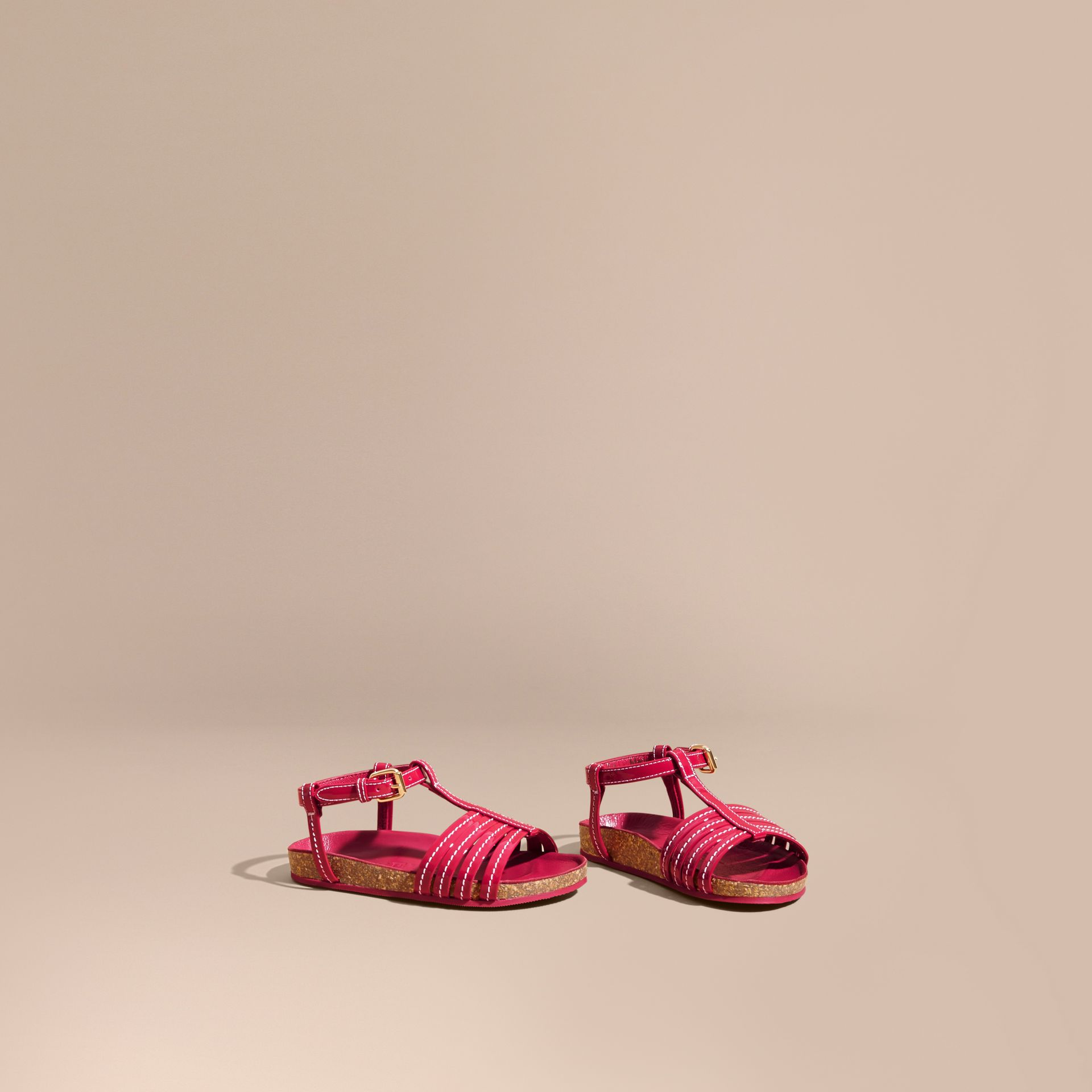 Cork Detail Patent Leather Sandals in Berry Pink | Burberry - gallery image 1
