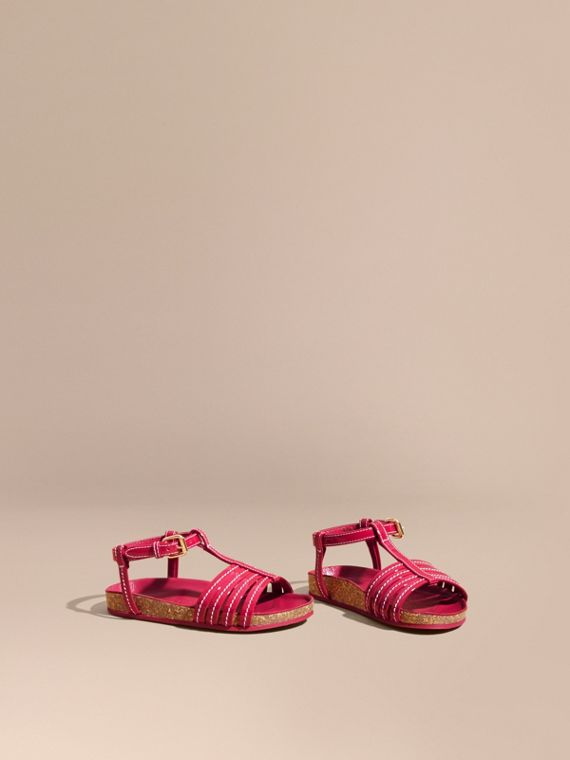 Cork Detail Patent Leather Sandals in Berry Pink