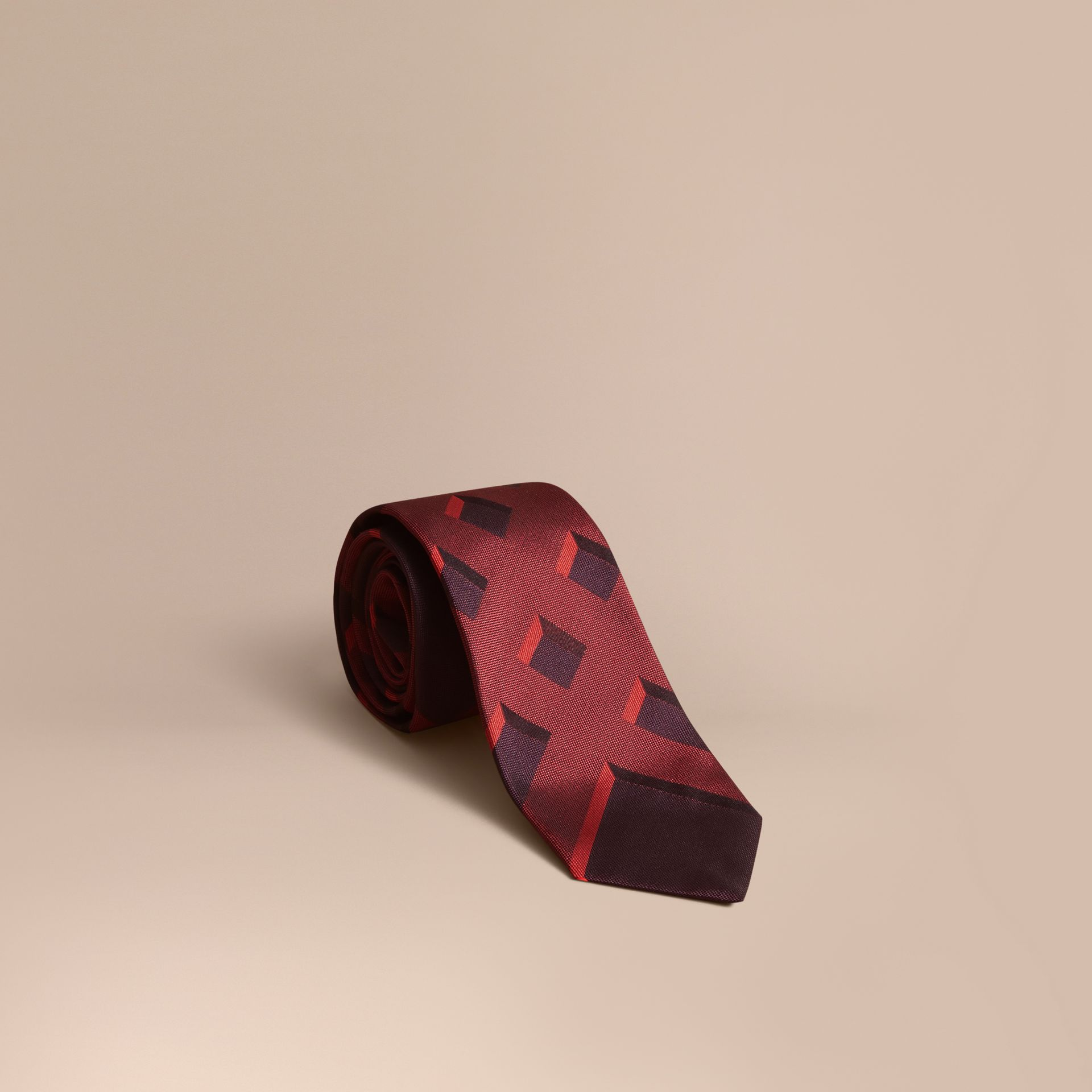 Modern Cut Check Jacquard Silk Tie Military Red - gallery image 1