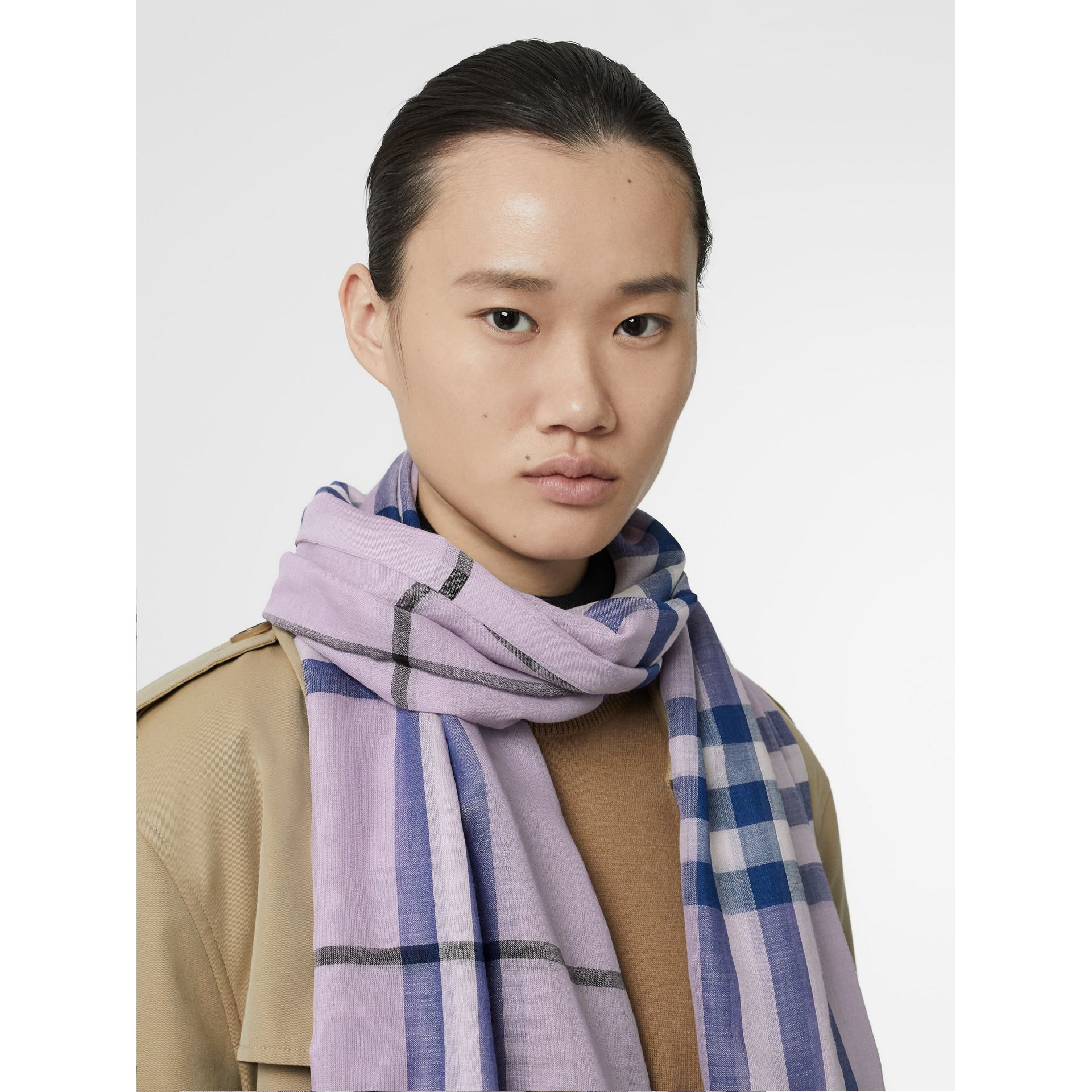 Lightweight Check Wool and Silk Scarf in Pale Orchid | Burberry - gallery image 2