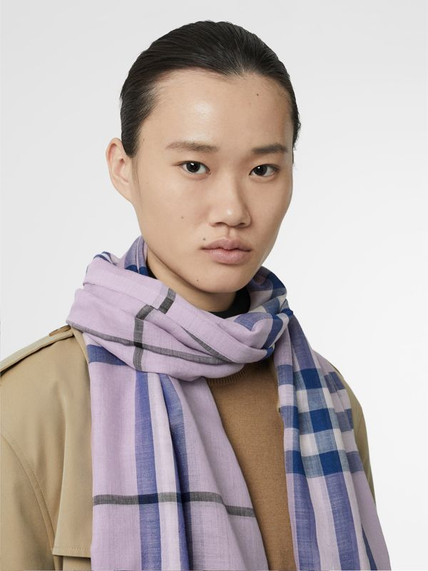 Lightweight Check Wool and Silk Scarf in Pale Orchid | Burberry - cell image 2