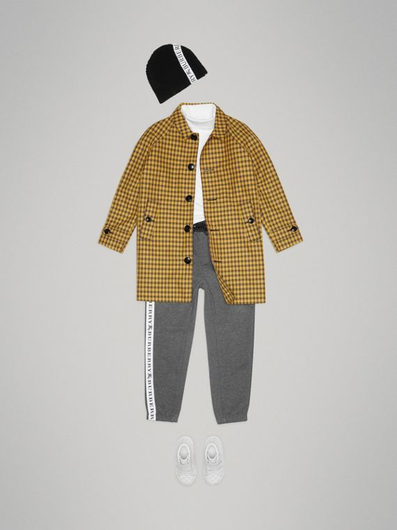 Shrunken Check Cotton Blend Car Coat in Bright Saffron Yellow