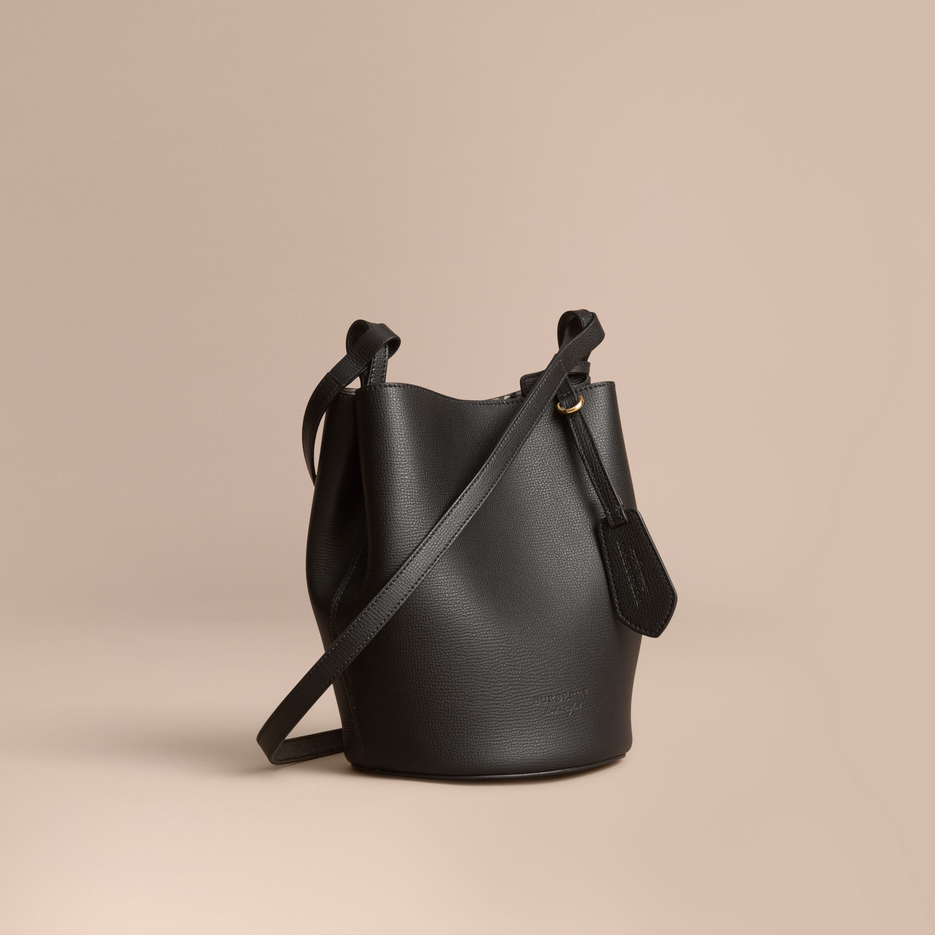 Leather and Haymarket Check Crossbody Bucket Bag in Black - Women | Burberry Singapore - gallery image 1