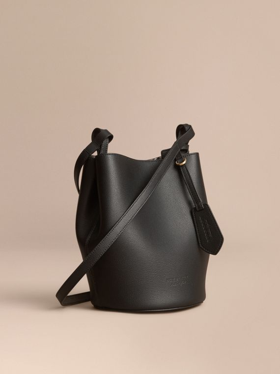 Leather and Haymarket Check Crossbody Bucket Bag in Black