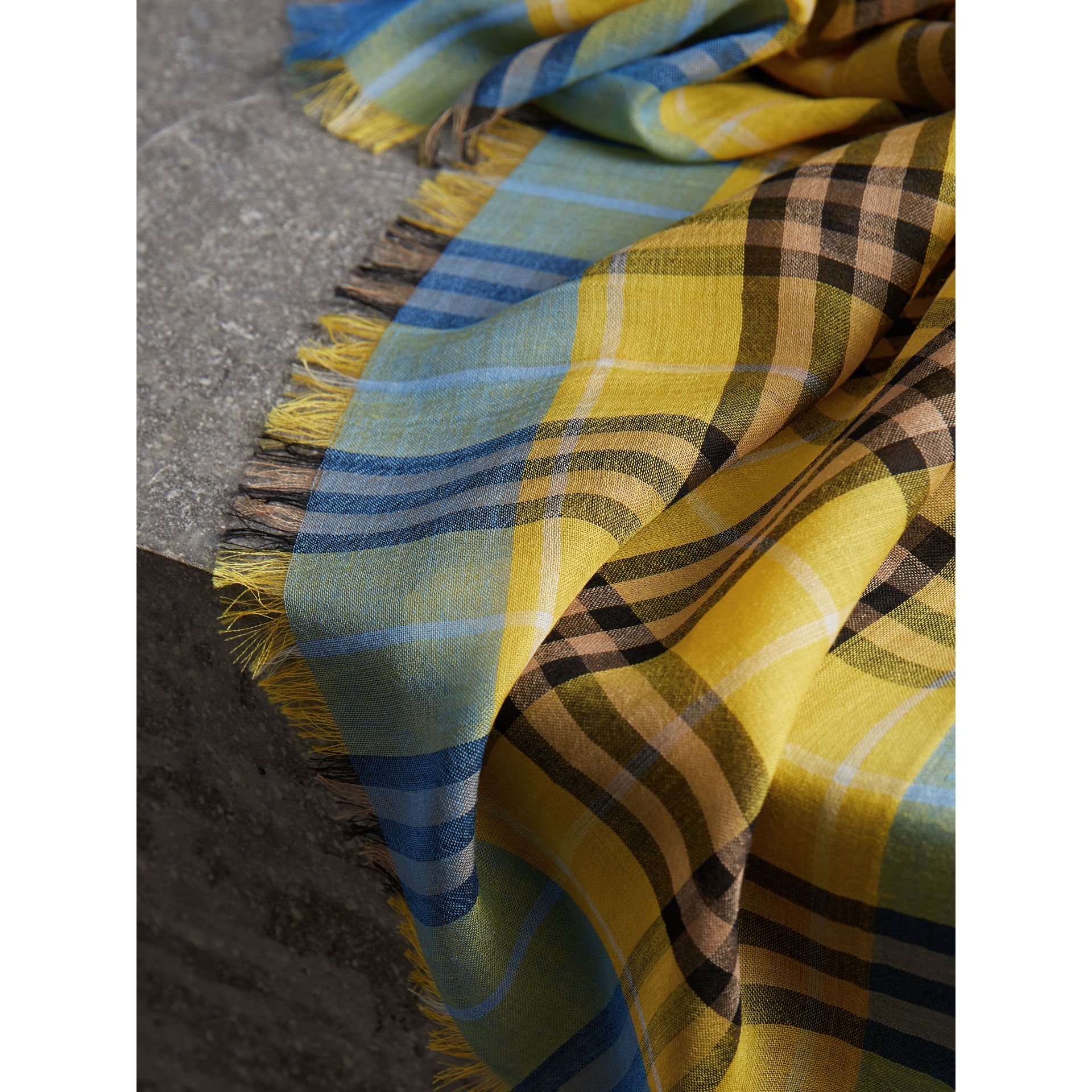 Check Wool Silk Scarf in Bright Yellow | Burberry United Kingdom - gallery image 1