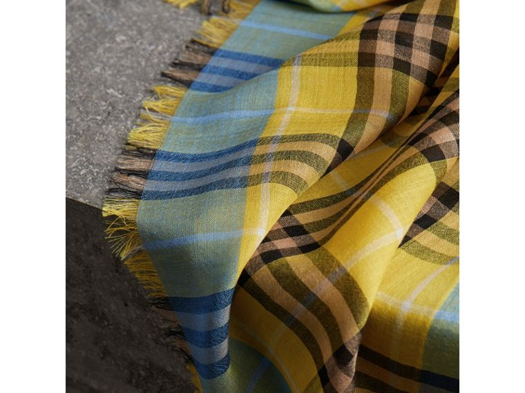 Check Wool Silk Scarf in Bright Yellow | Burberry United Kingdom - cell image 1