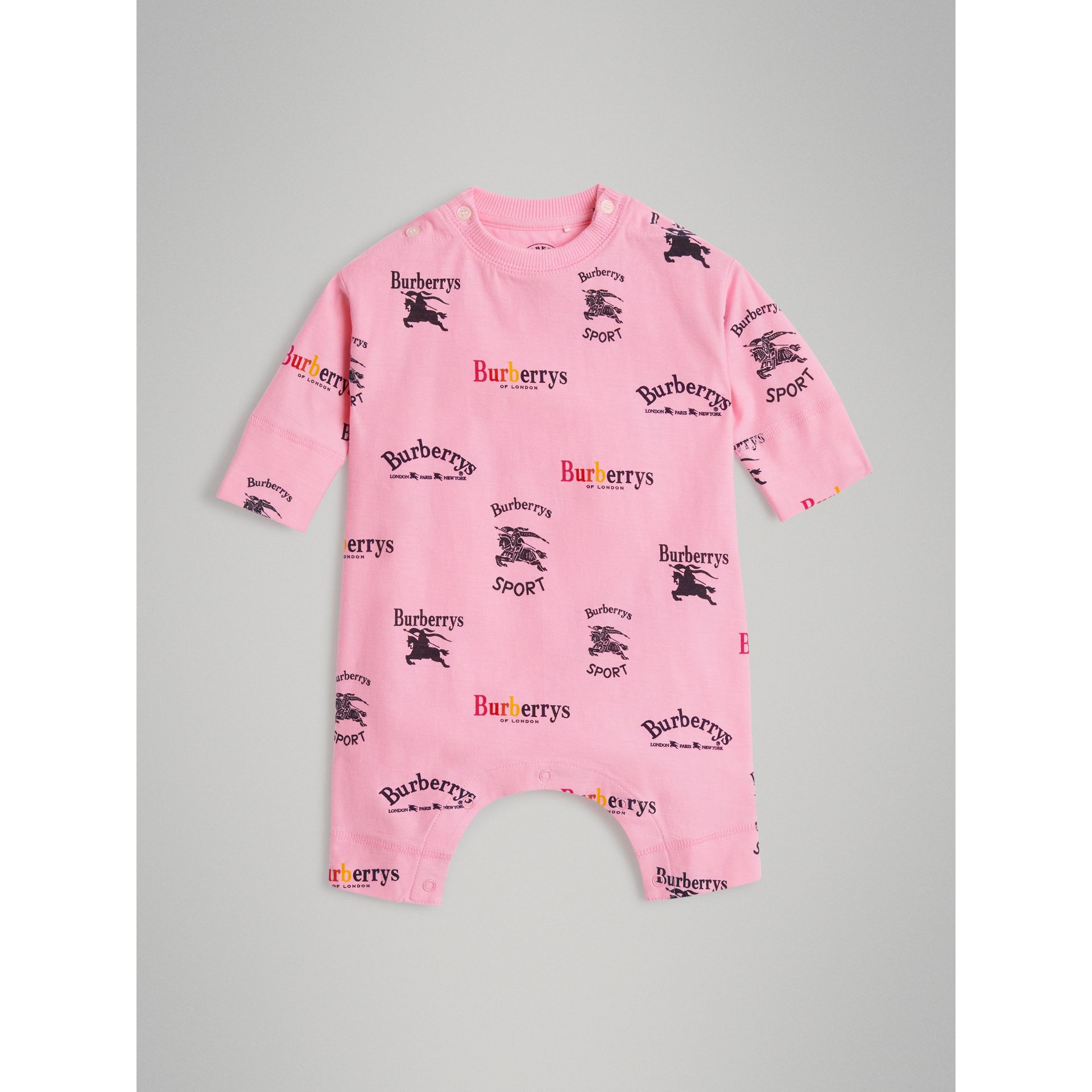Archive Logo Two-piece Baby Gift Set in Neon Pink - Children | Burberry United Kingdom - gallery image 2